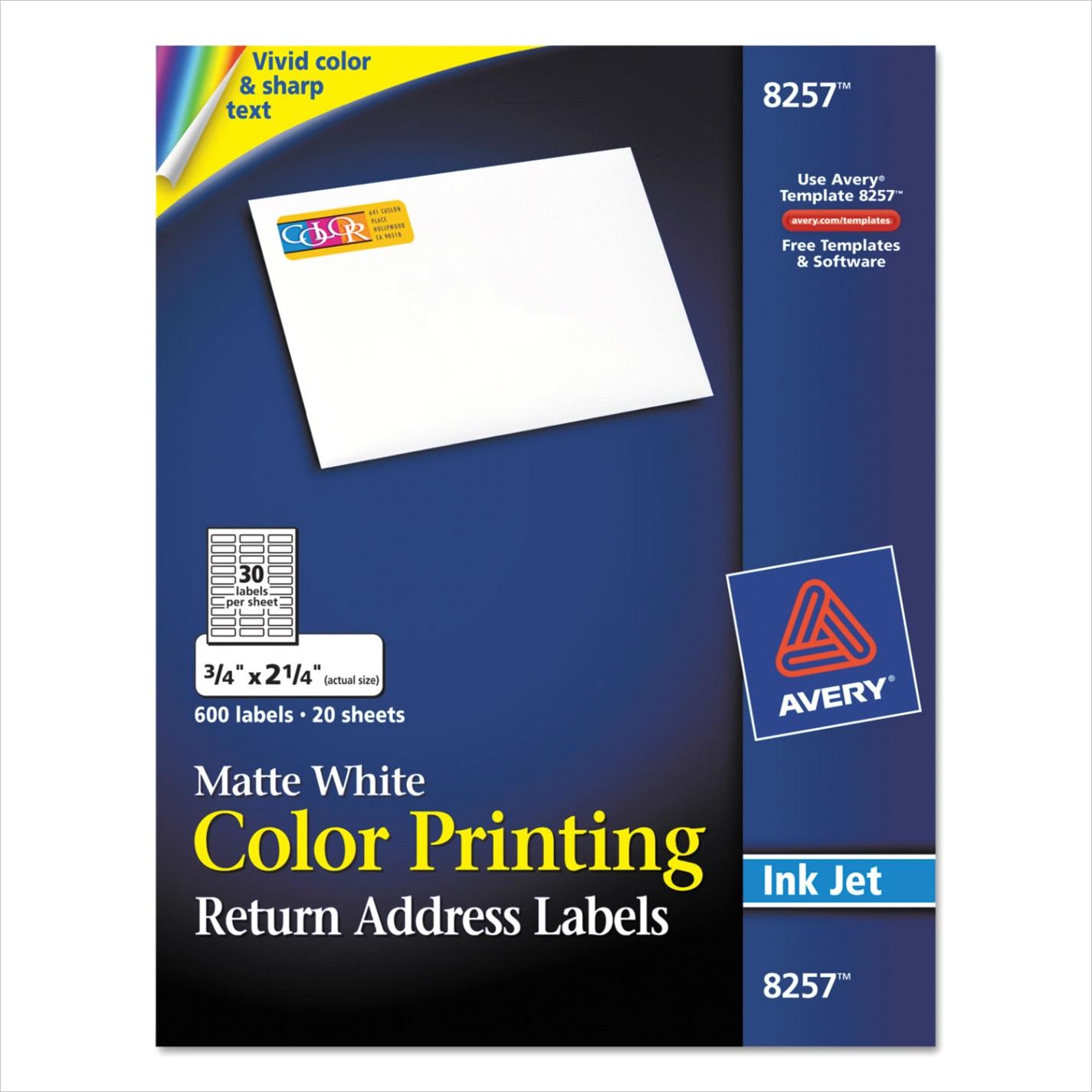 Vibrant Color Printing Mailing Labels Inkjet Printers 075 x 225 Matte White 30Sheet 20 SheetsPack AVE8257x