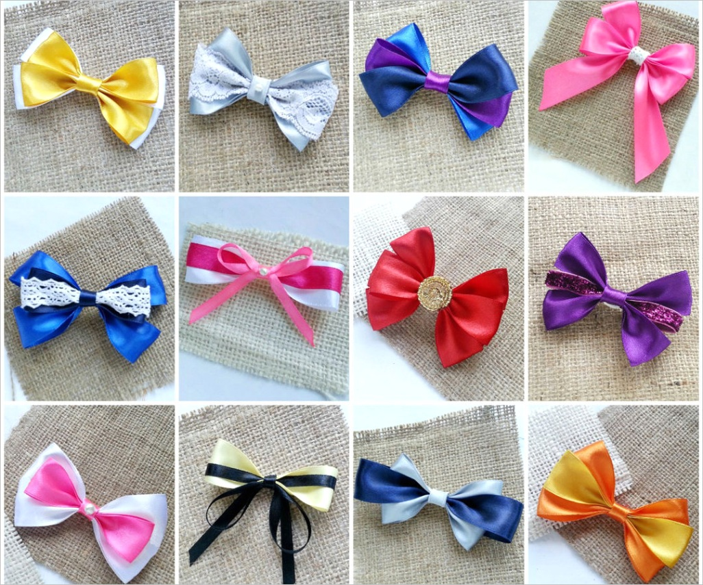 Satin Lace Hair Bows 12 different patterns
