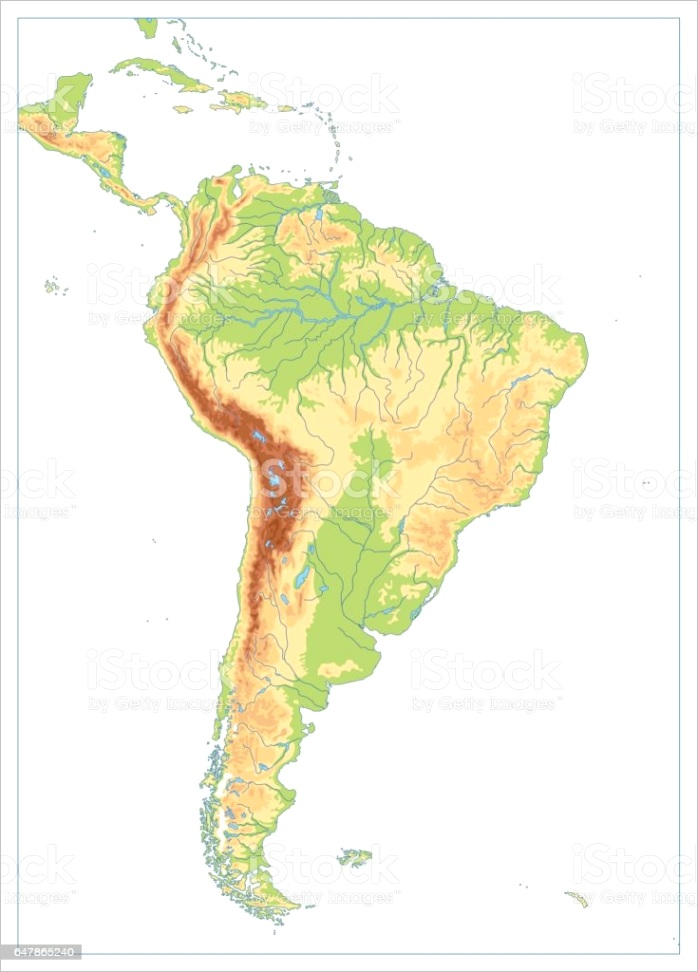 south america physical map isolated on white blank map gm