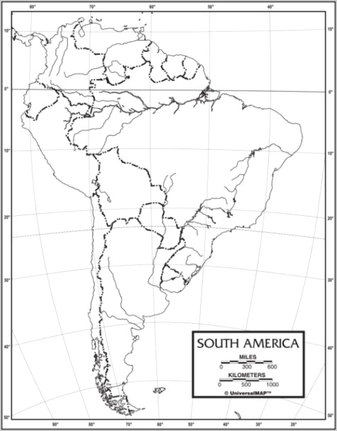 south america outline map 50 pack