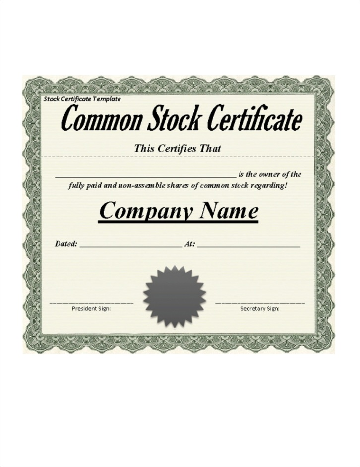 free printable stock certificate template