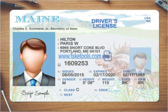 maine driver license psd template