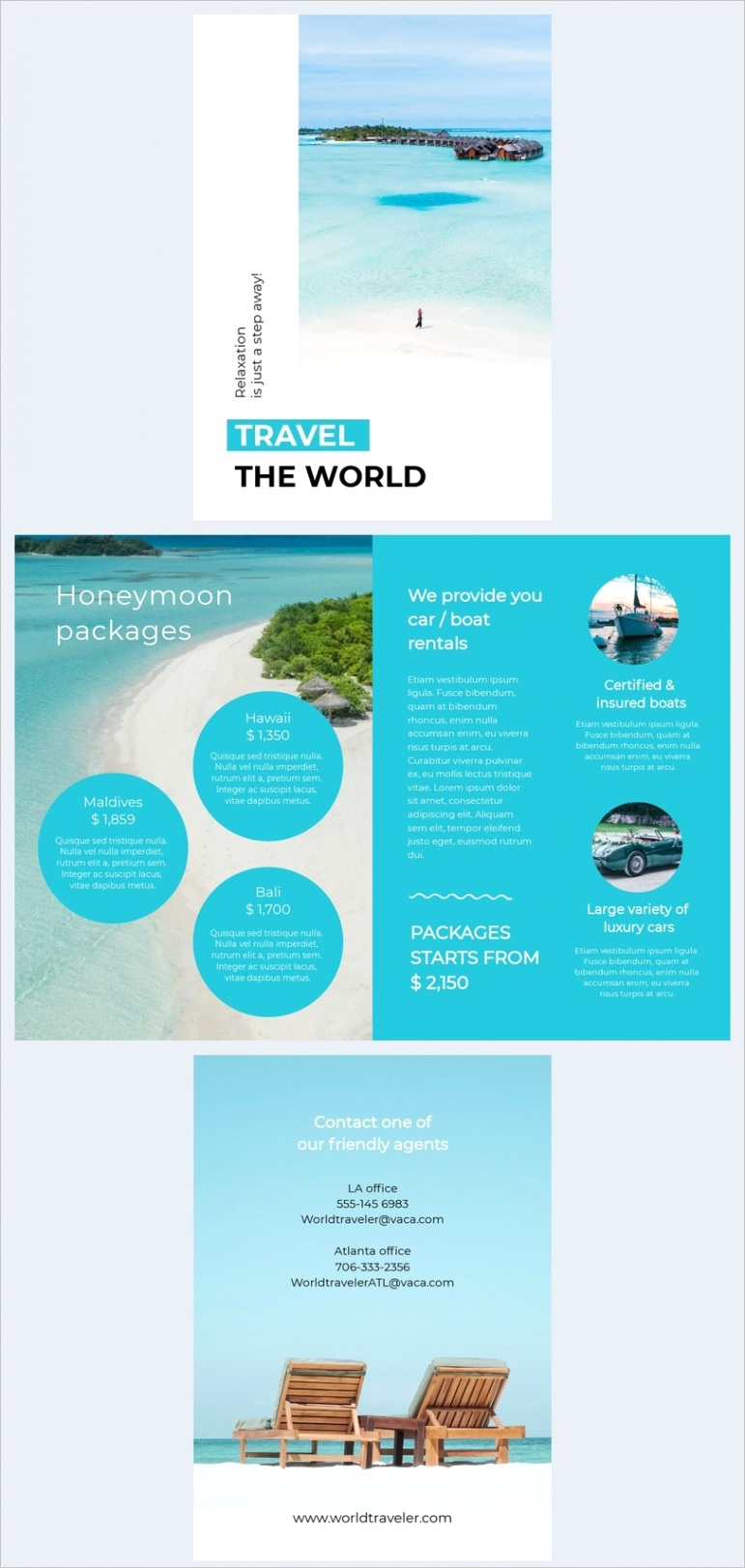 travel brochure price list template