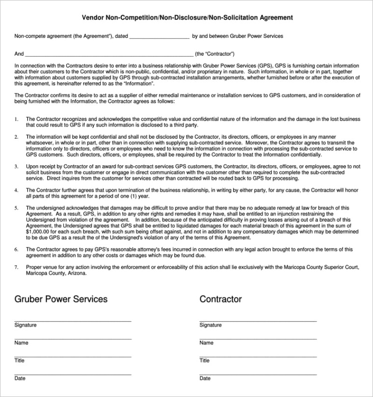 sample independent contractor non pete agreement