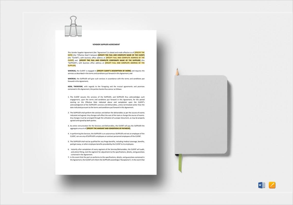 vendor supplier agreement