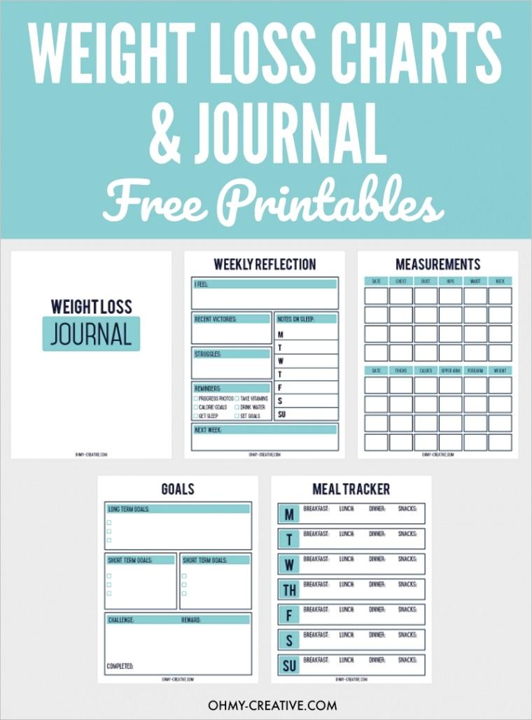 printable weight loss chart journal