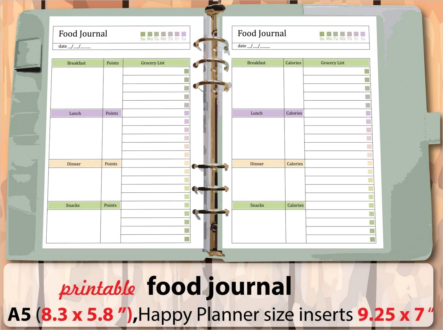 easy t plan printable food journal
