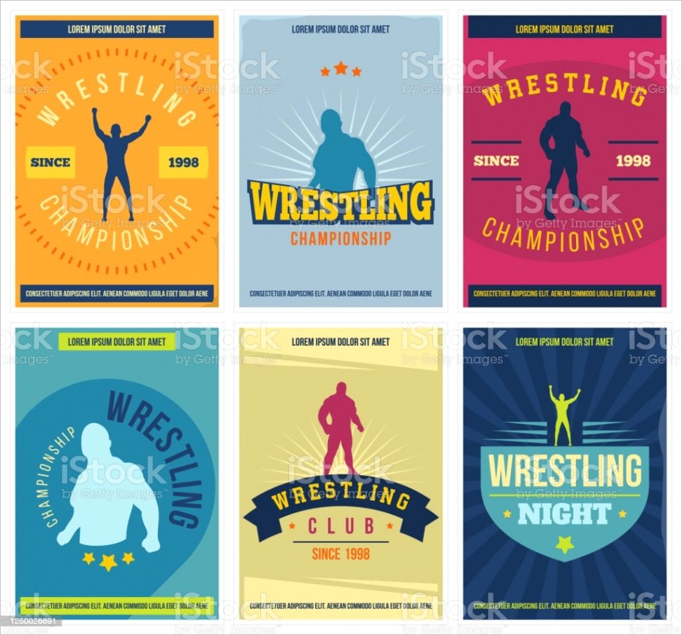 wrestling posters set retro colorful martial arts templates for print banner gm