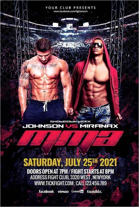 mma fight night flyer template
