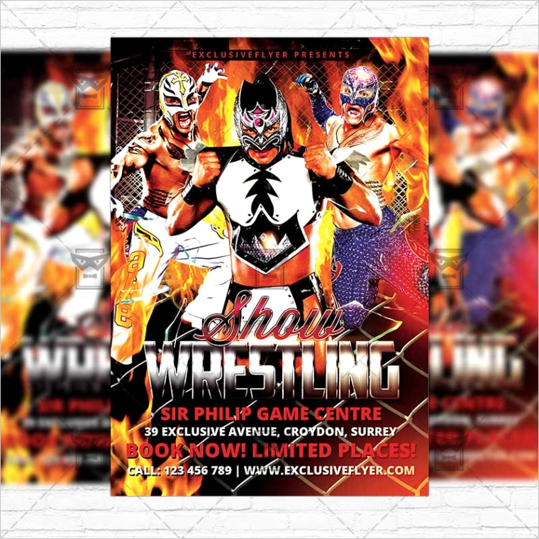 wrestling show premium flyer template cover
