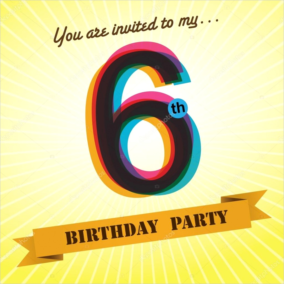 stock illustration 6th birthday party invite template