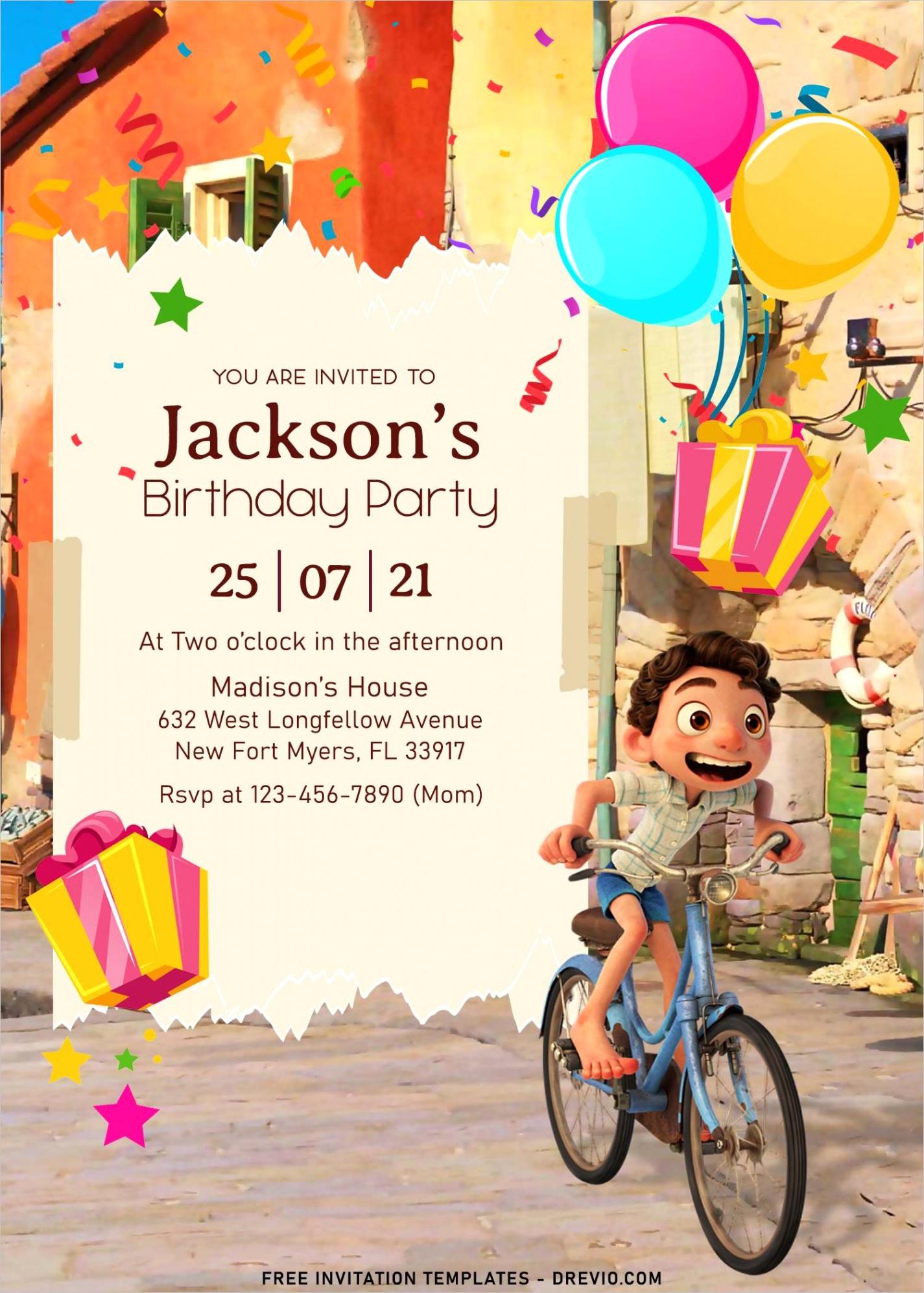 8 disney luca birthday invitation templates for your kid birthday party