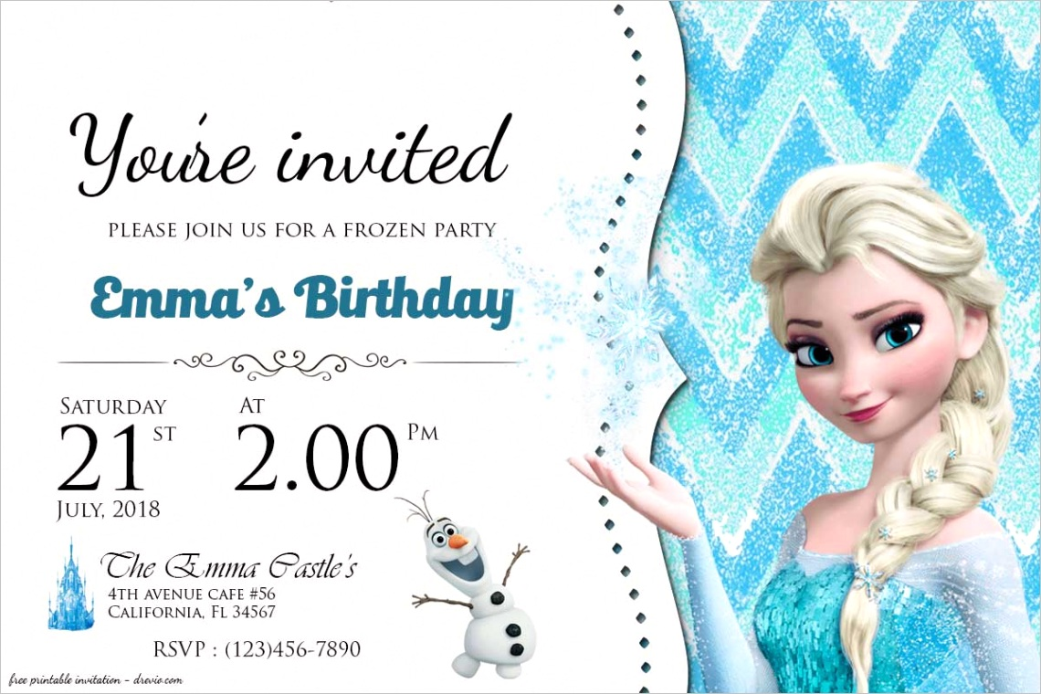 free frozen birthday invitation templates