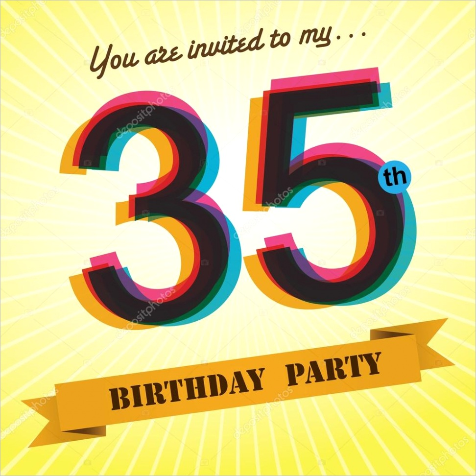 stock illustration 35th birthday party invite template