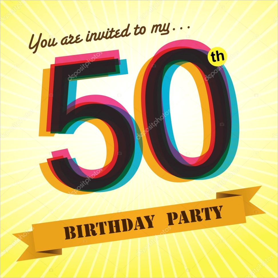 stock illustration 50th birthday party invite template