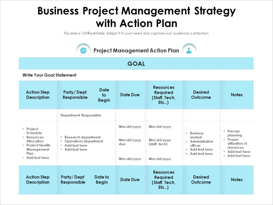 business project management strategy with action planml