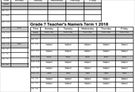 teacher classroom timetable template