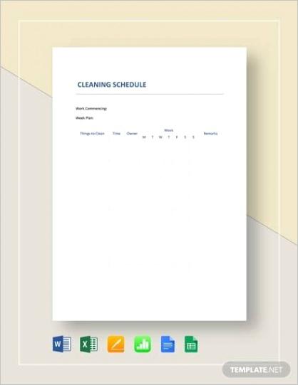sample cleaning schedule templateml