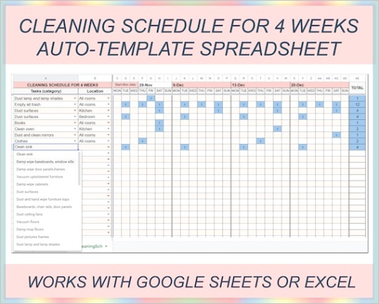 cleaning schedule weekly cleaning