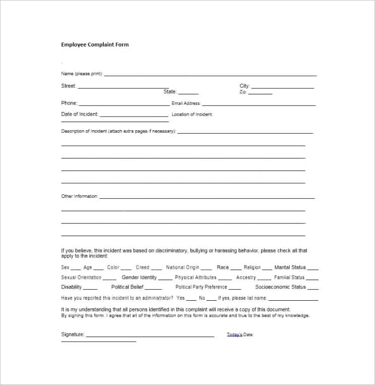 employee plaint form 10