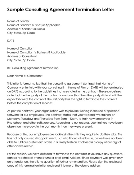 termination of consulting agreement letter