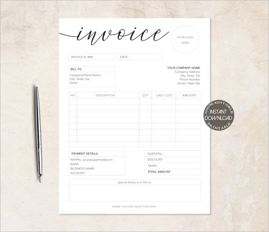invoice template printable invoice