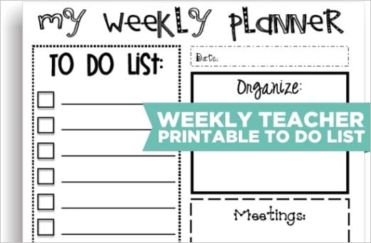 6 cute teacher printable to do lists