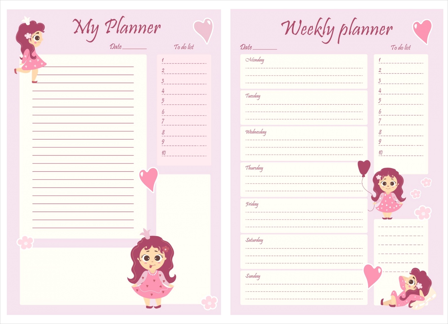 cute girl planner templates for a day a week a to do list and a place to take notes organizer and schedule with notes and to do list beautiful girl princess with flowers and balloons vector a4