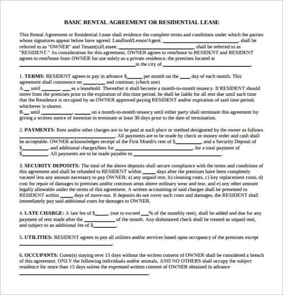 generic rental agreementml