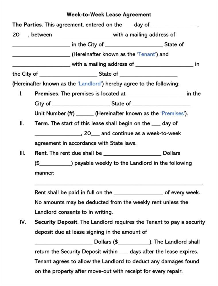 week to week lease agreement