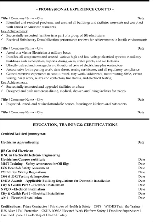 senior electrician resume samplep