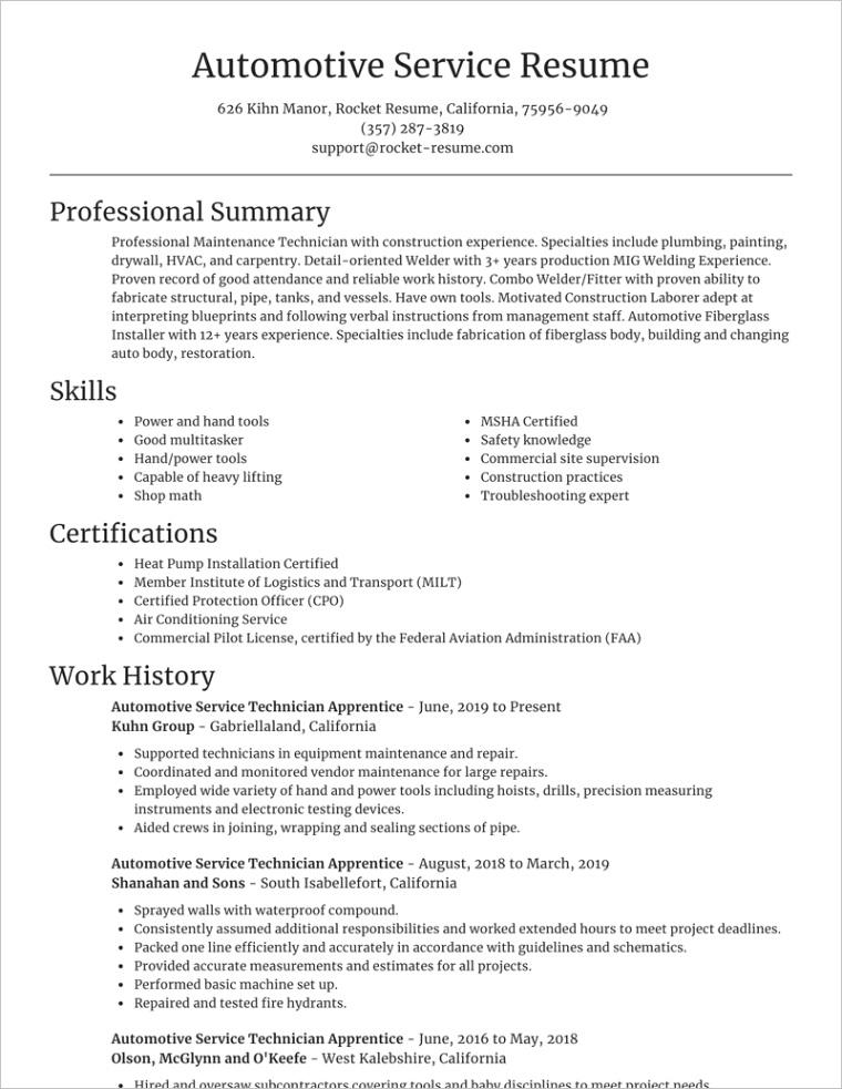 automotive service technician apprentice job resumes templates and samples contentSlug=examples