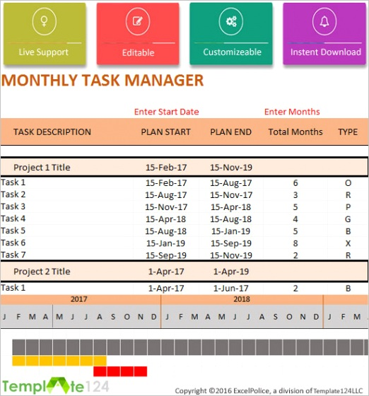 excel monthly project to do list template 2013 2016