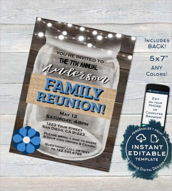 family reunion invitation editable annual summer kick off backyard family bbq party gathering rustic mason jar printable instant 1815