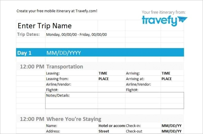 51 free travel itinerary template by day photo with travel itinerary template by day