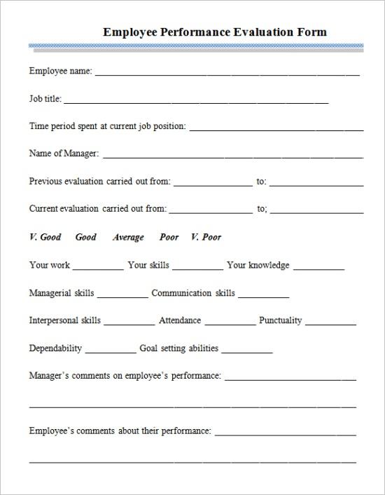 employee performance appraisal formml