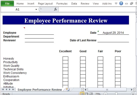 performance review template microsoft excel