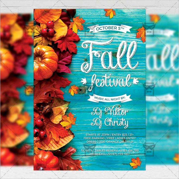 fall festival flyer seasonal a5 template