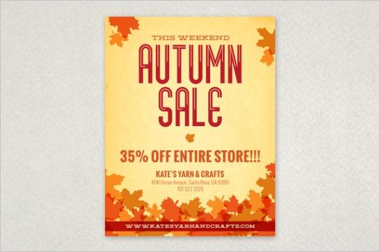 autumn leaves flyer design template 6457