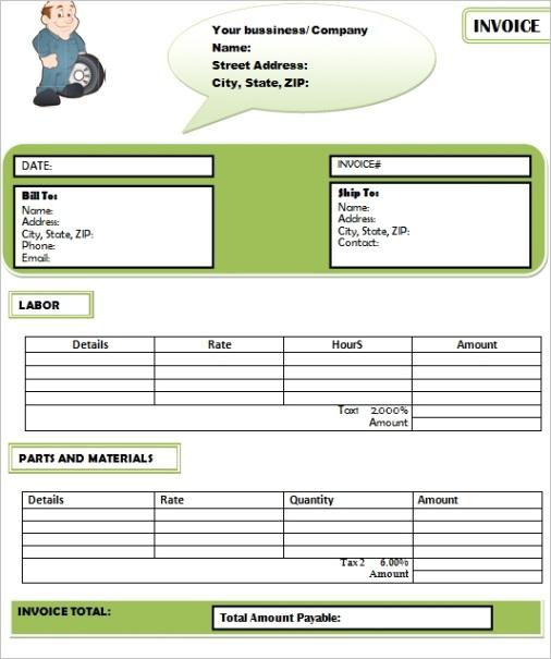 parts and labor invoice