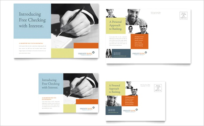 Private Bank Postcard Templates FN Dx