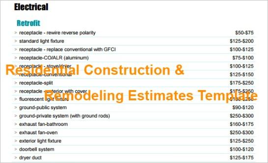 estimating and bud ing spreadsheet