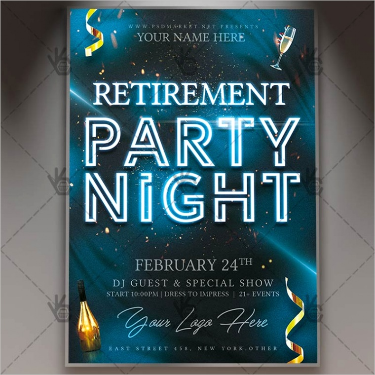 retirement party night flyer psd template