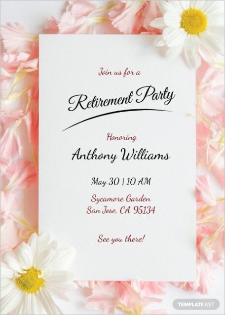 floral retirement party invitation