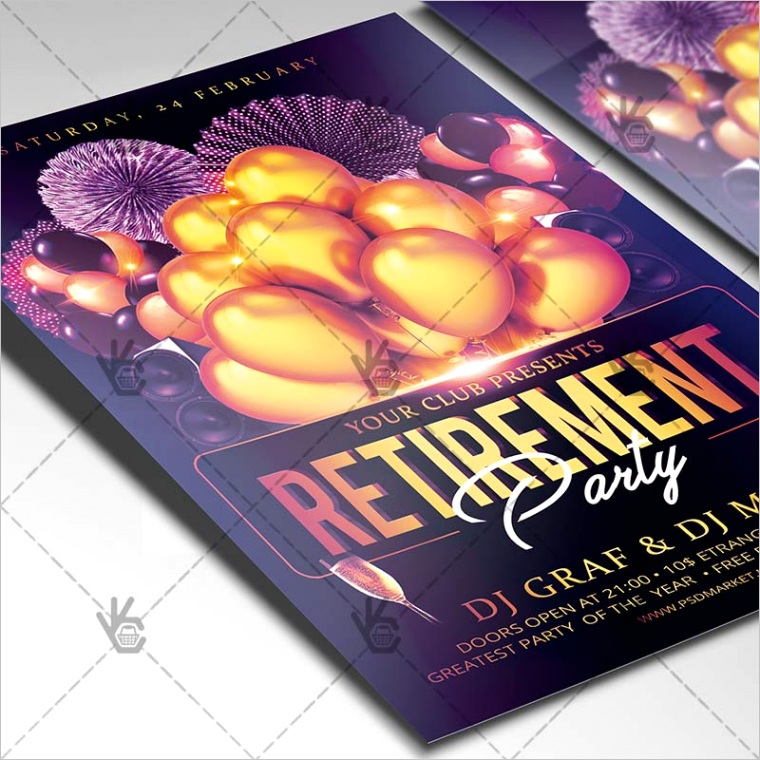 retirement party flyer psd template