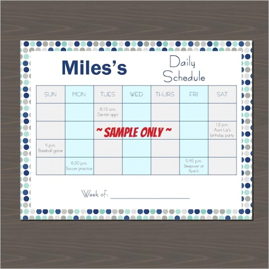 weekly schedule template for kids kid