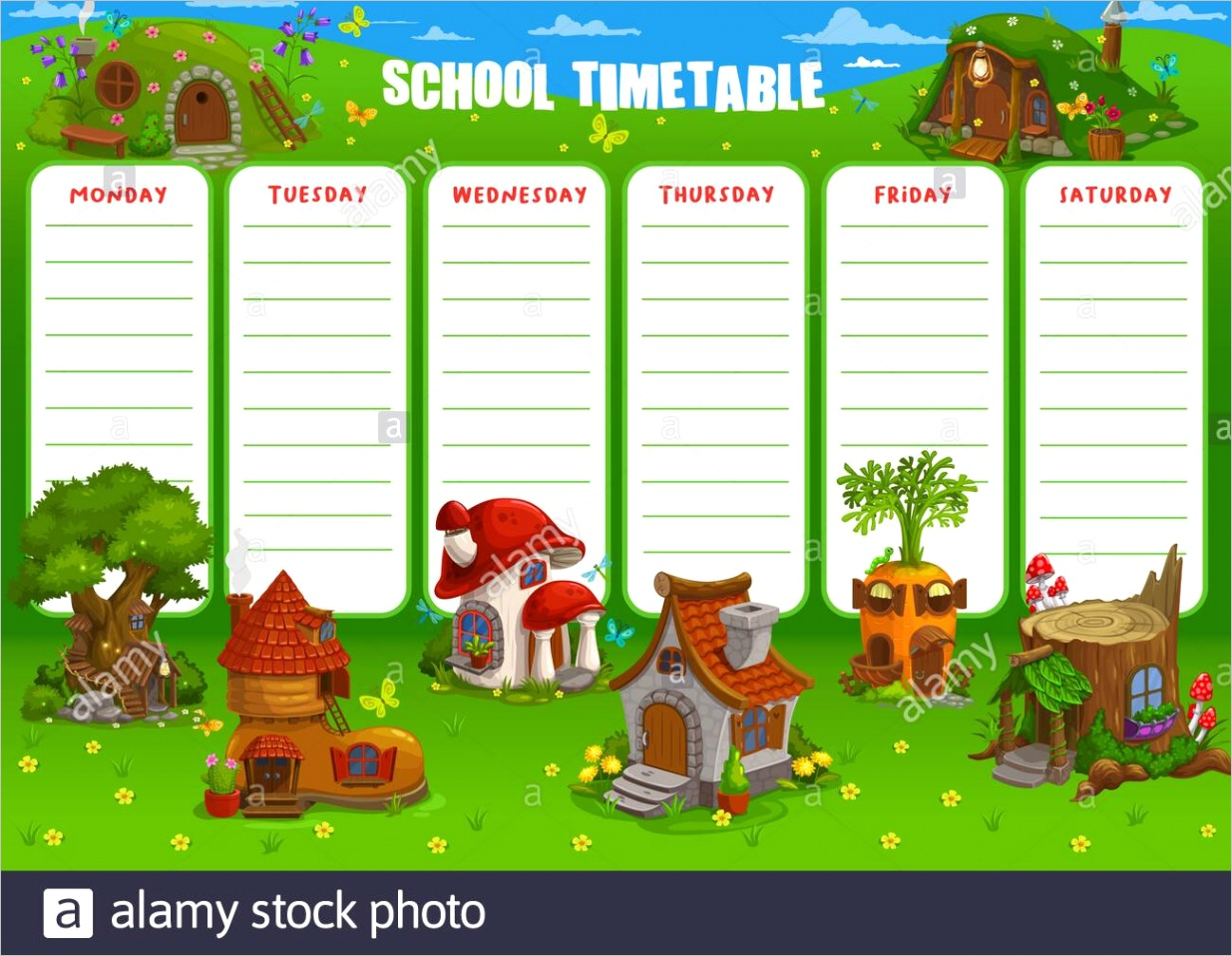 school timetable vector schedule template with cartoon dwarf gnome and fairy houses and fantasy buildings education weekly student lessons planner w image ml