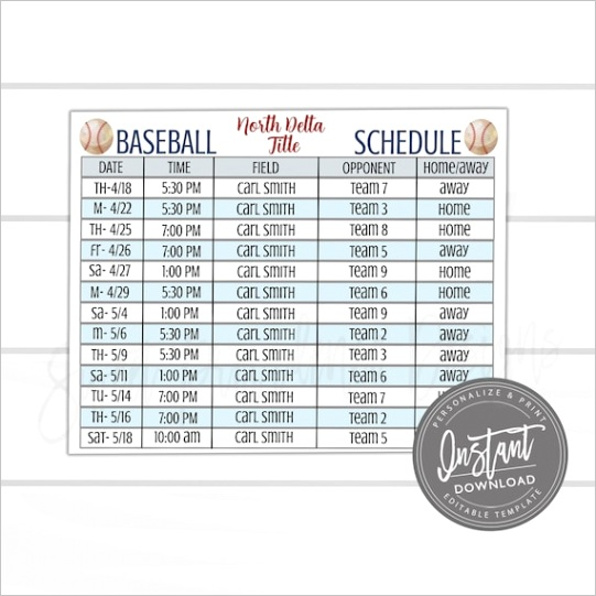 editable baseball schedule game and