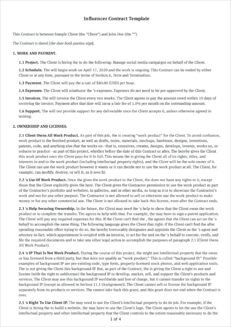 social media influencer agreement
