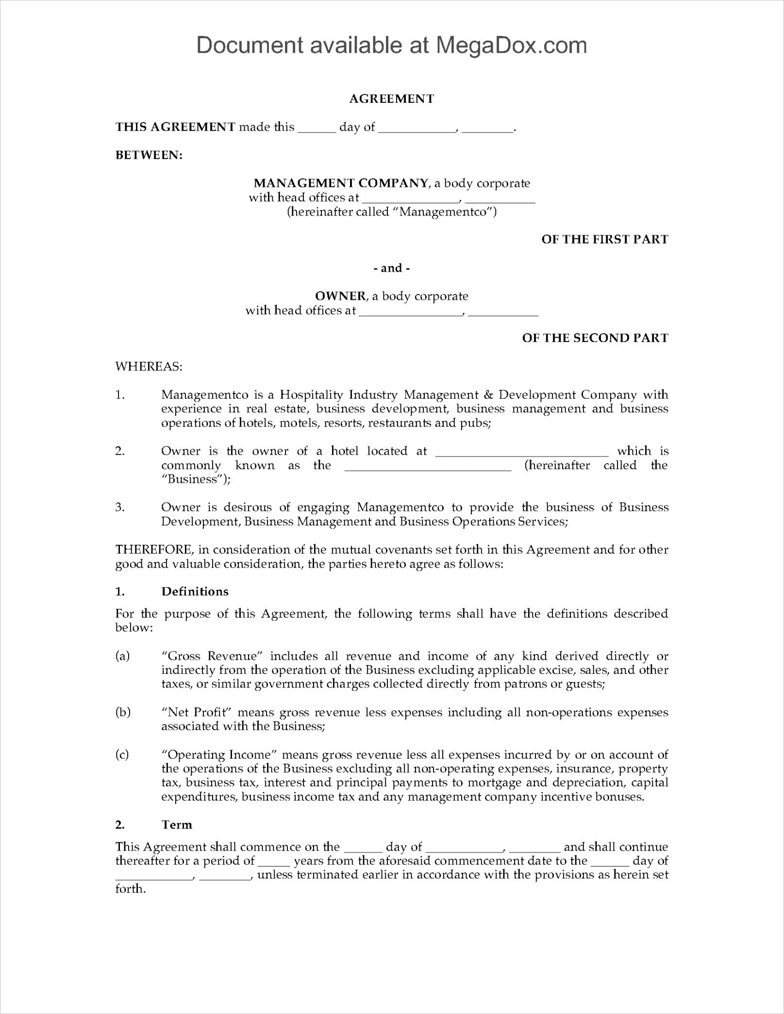 Hotel Management Agreement